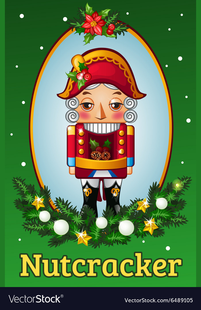 Holiday card with a soldier figurine in oval frame vector