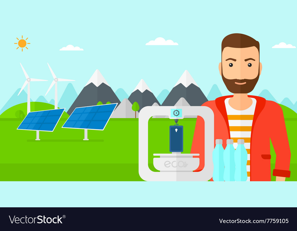 Man with three d printer vector