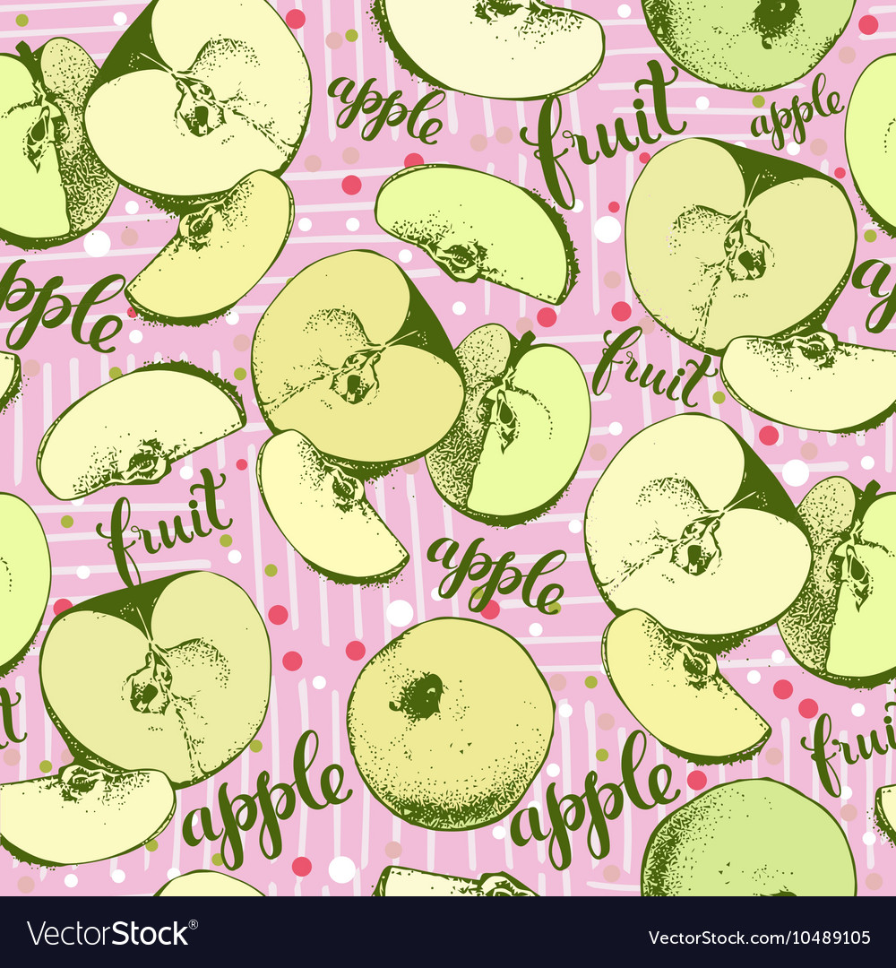 Seamless apples backgrond vector