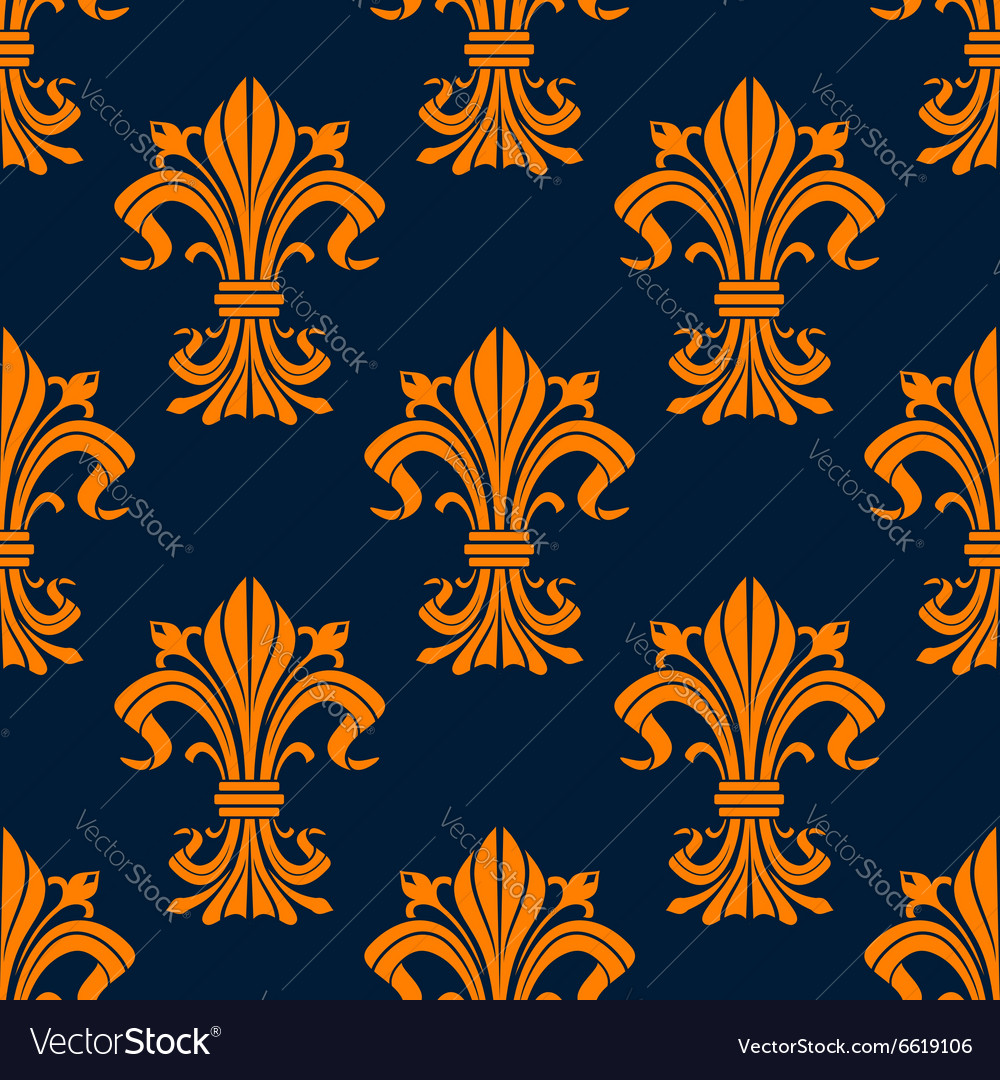 Orange and blue fleurdelis seamless pattern vector