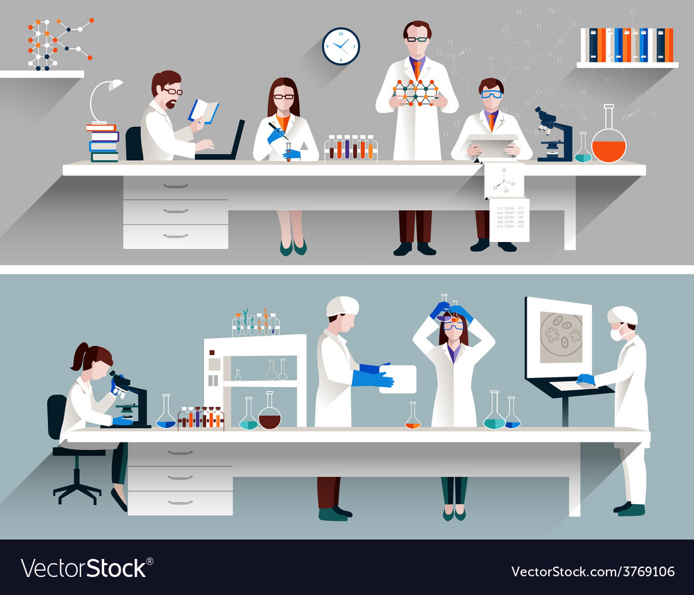 Scientists in lab concept vector
