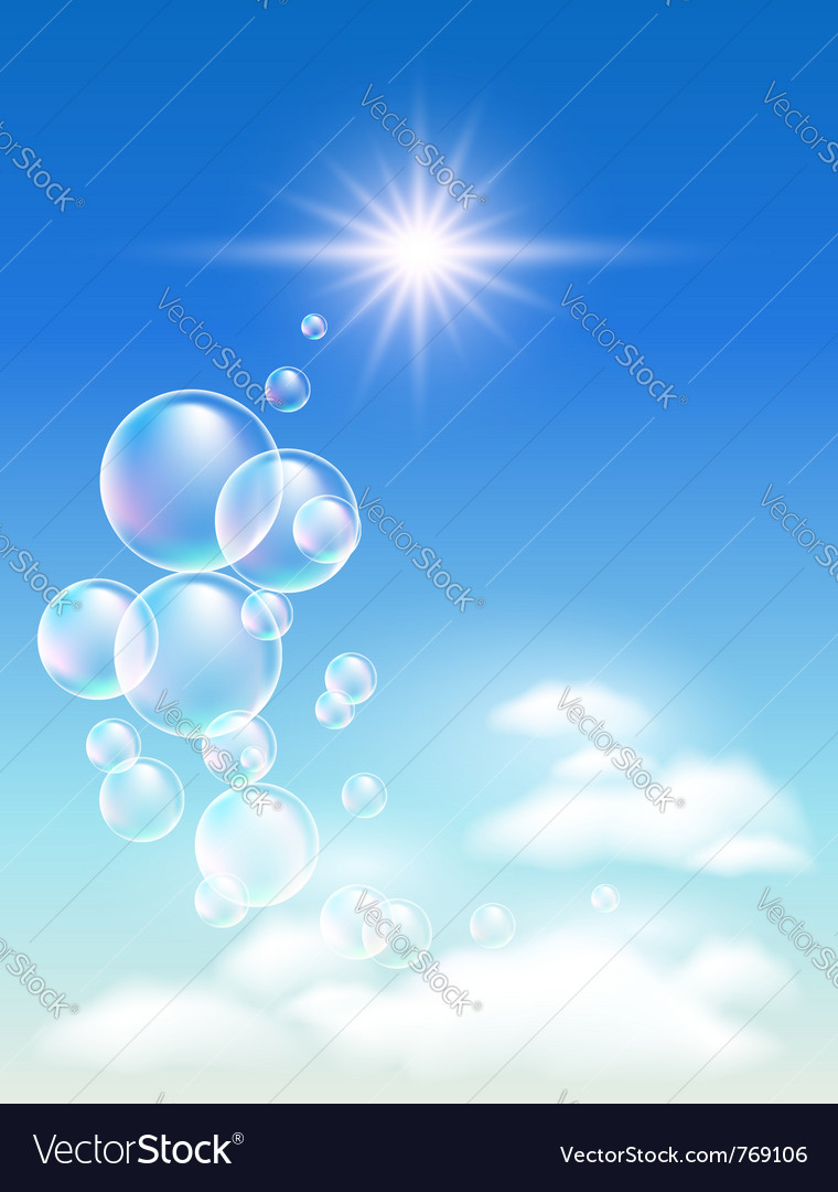 Sky clouds and bubbles vector