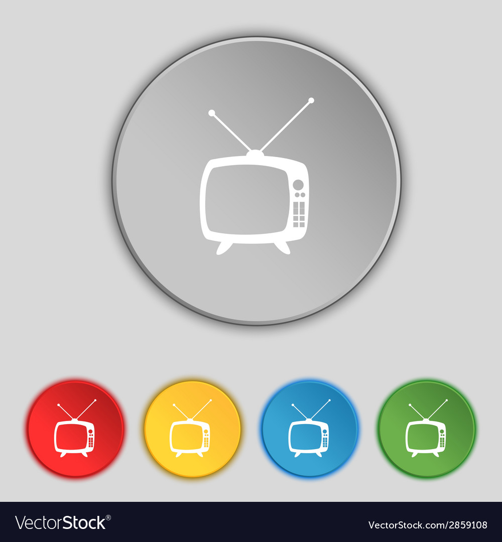 Retro tv mode sign icon television set symbol set vector