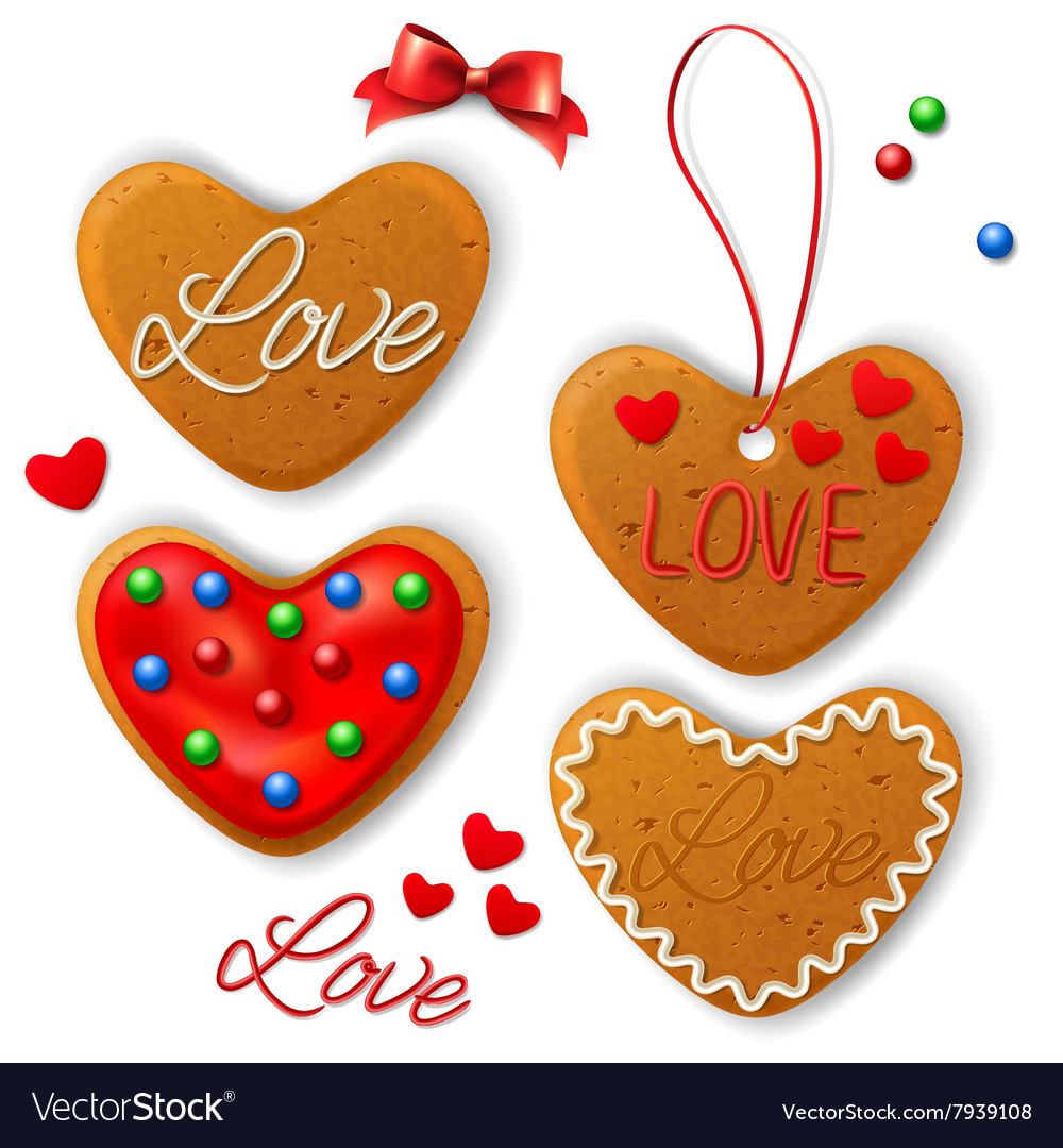 Set of happy valentines day cookie vector