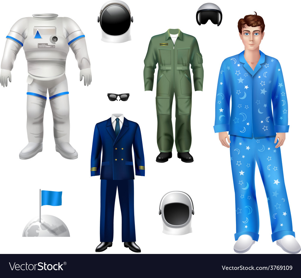 Astronaut boy set vector