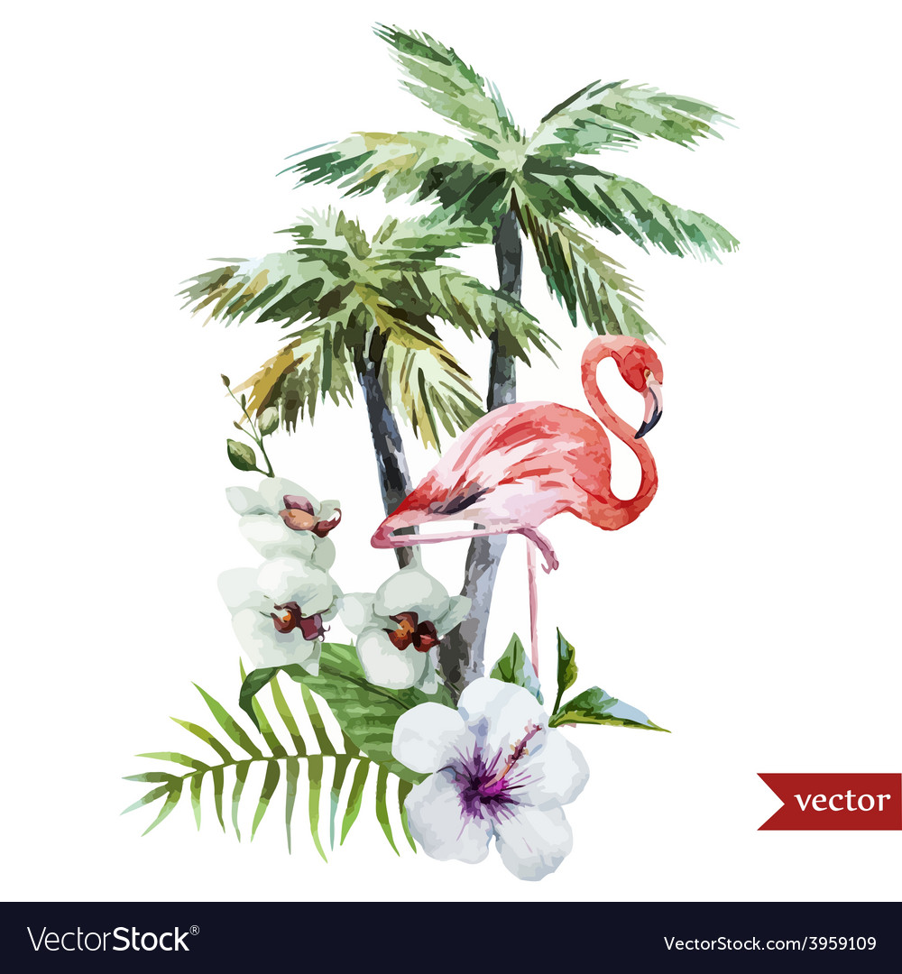 Flamingo with palms and flowers vector