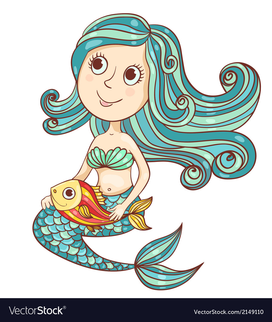 Mermaid with fish isolated on white vector