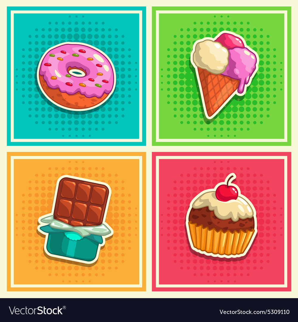 Sweet stickers 1 vector