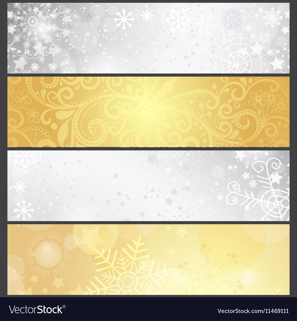 Set shiny silvery and golden winter banners vector