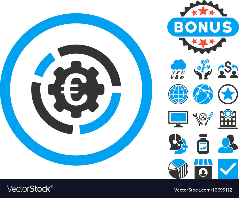 Euro diagram options flat icon with bonus vector