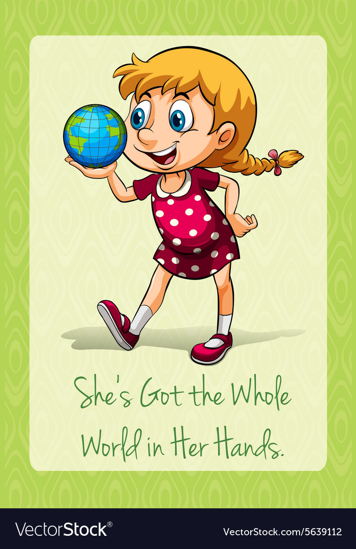 Shes got the whole world in her hands vector