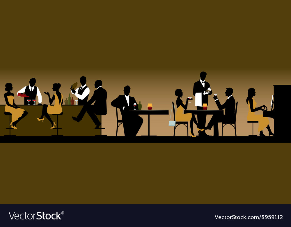 Silhouettes of a group of people in a restaurant vector
