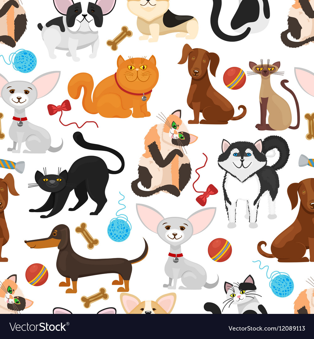 Pet background dogs and cats seamless vector
