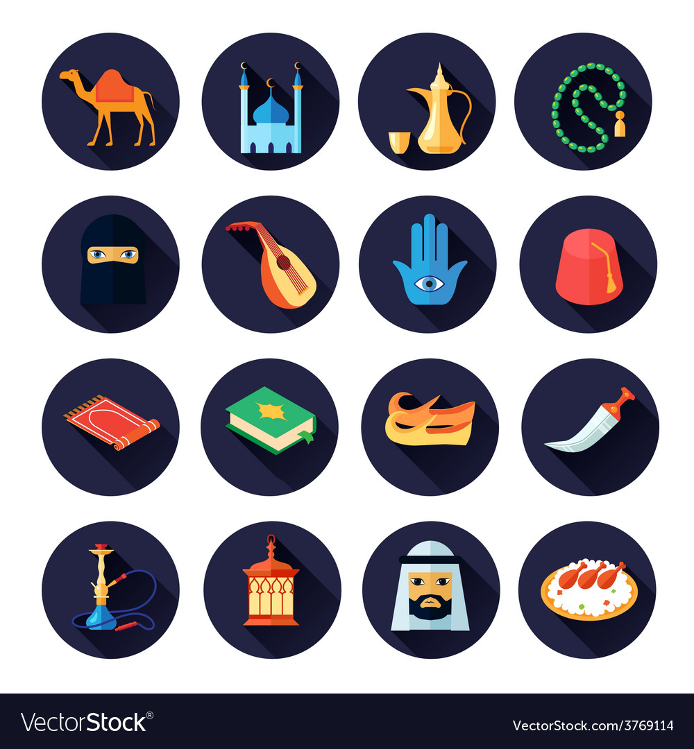 Arabic culture icon flat vector