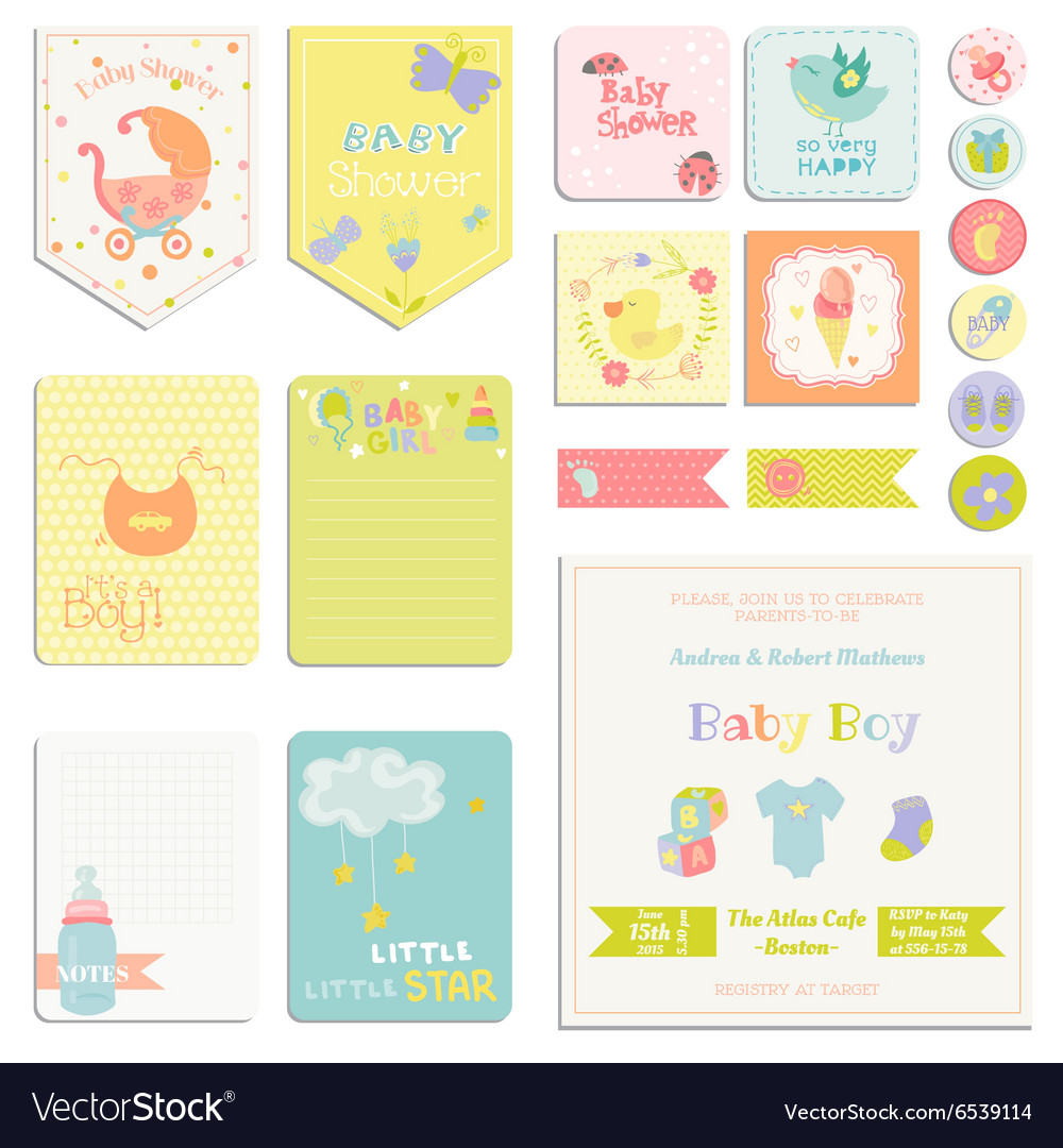 Baby shower or arrival set  tags banners vector