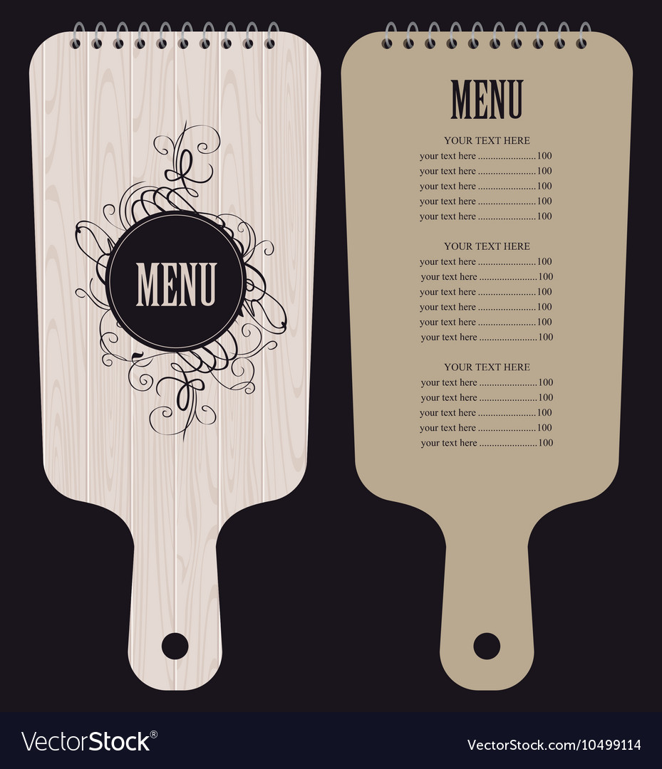 Menu in form of wooden cutting board vector