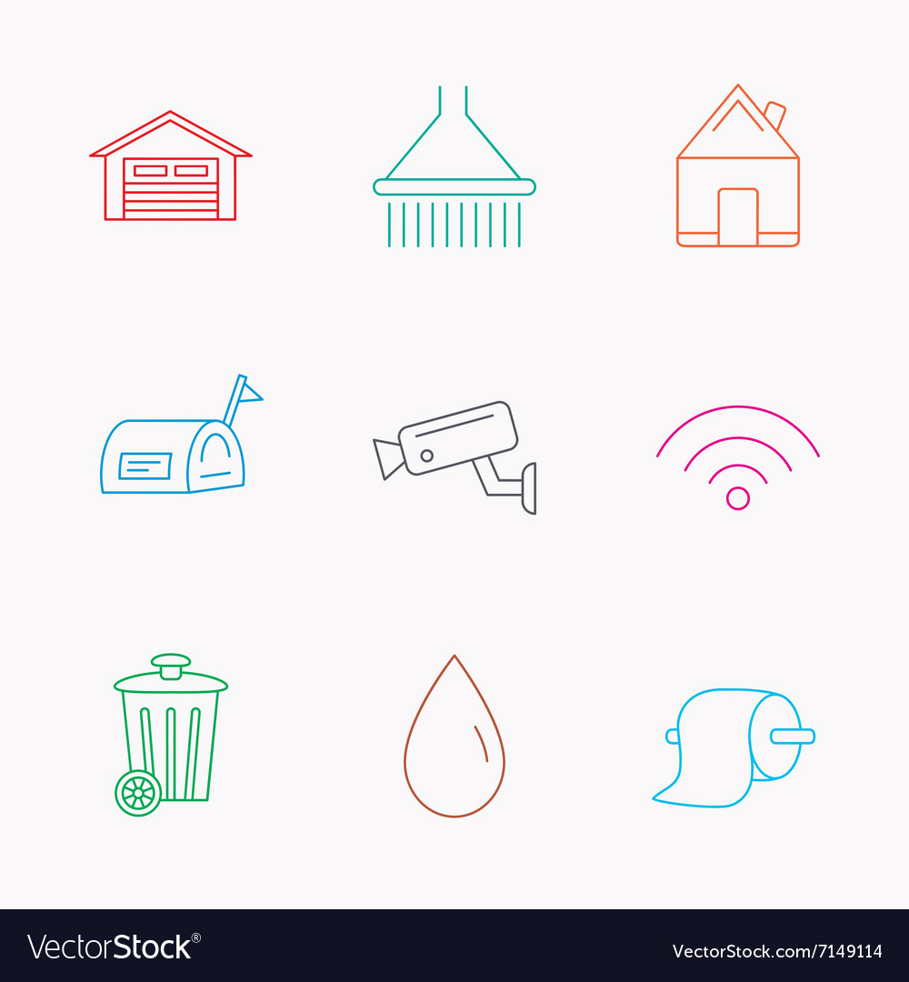 Wifi video monitoring and real estate icons vector