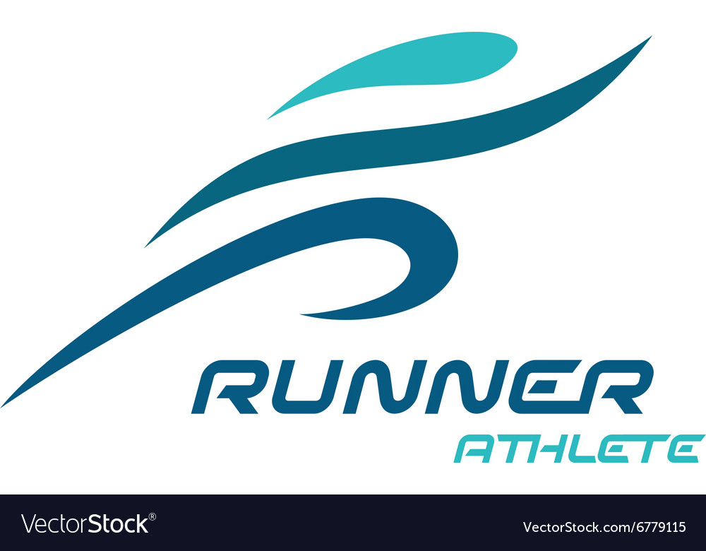 Runner logo fast simple stylized athlete figure vector