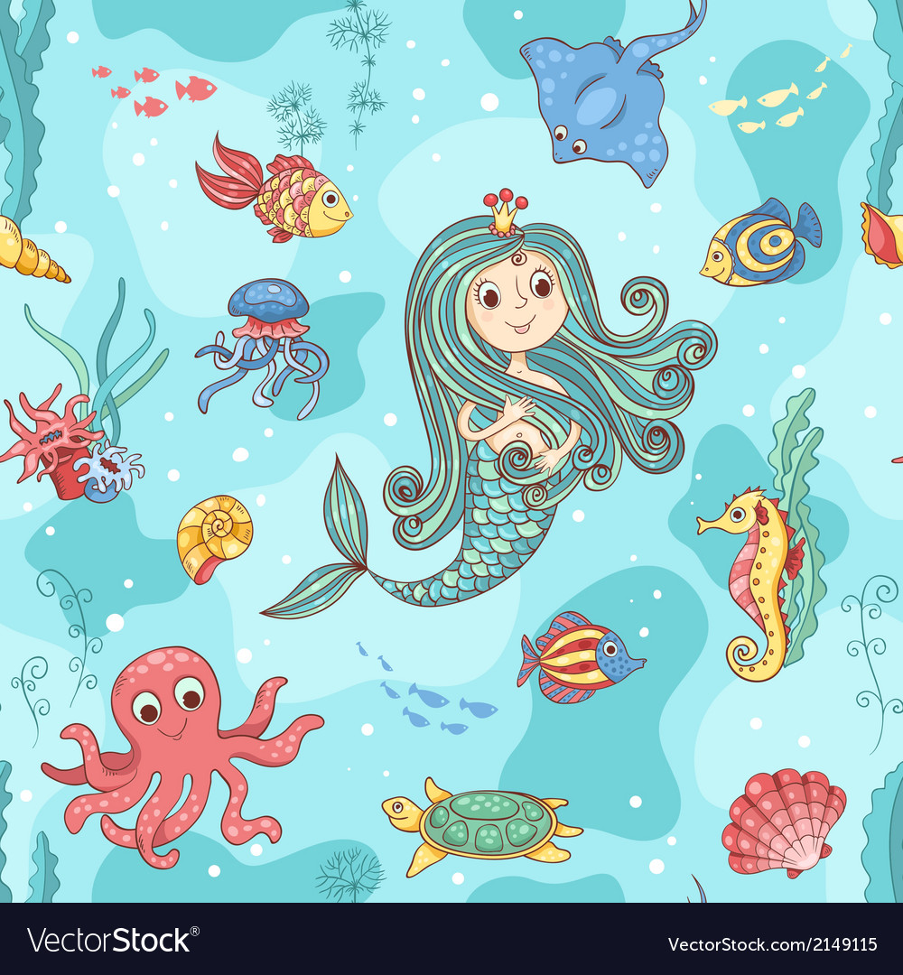 Seamless pattern with mermaid princess vector