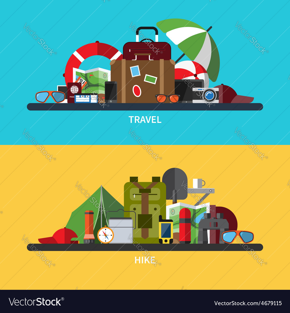 Set of tourism traveling hiking vector