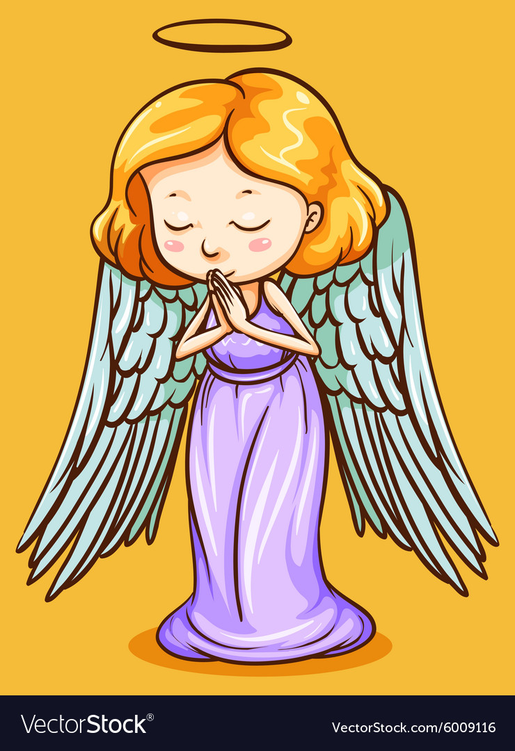 Angel with wings praying vector