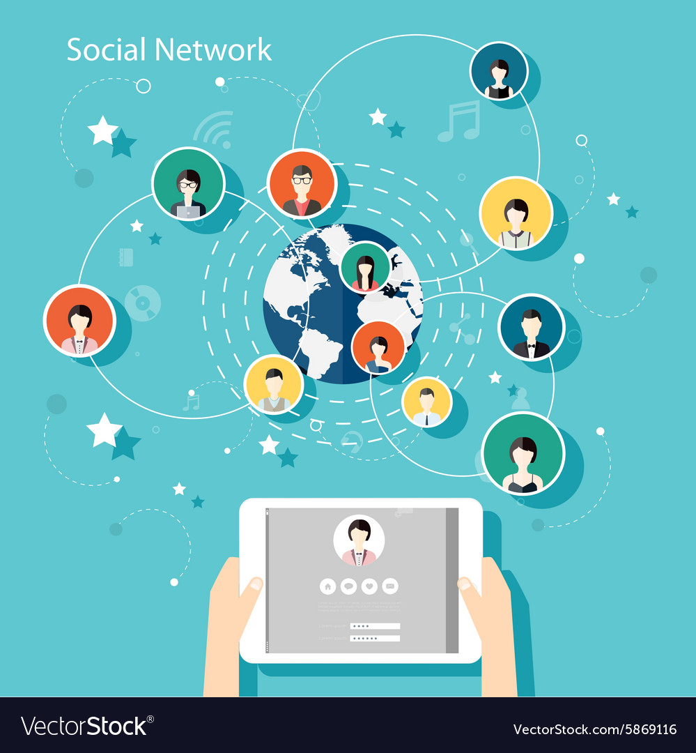 Social network concept flat design for web vector