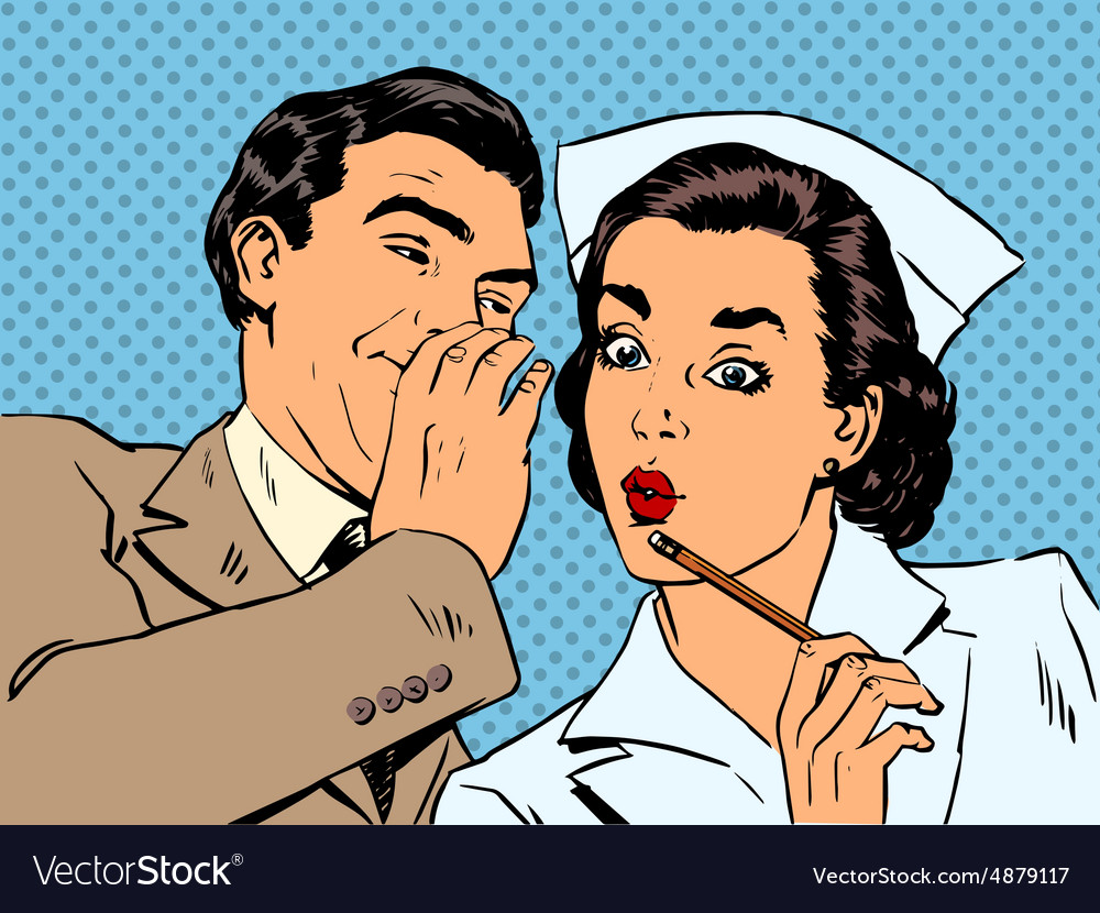Diagnosis patient nurse and male gossip surprise vector