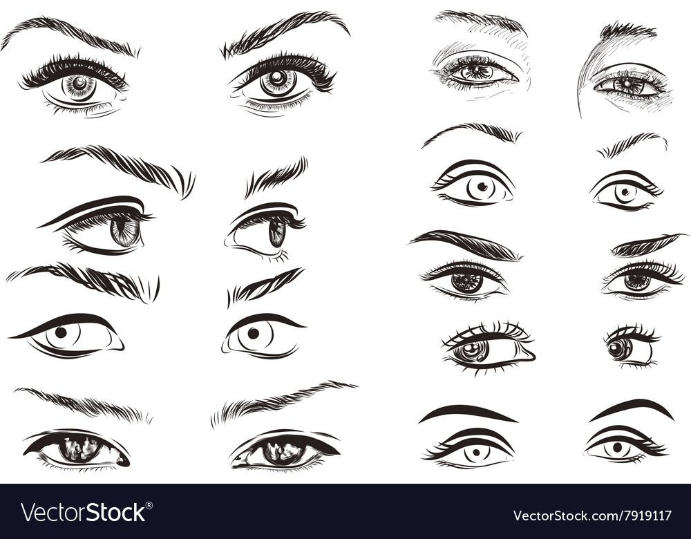 Hand drawn woman eyes collection on white vector