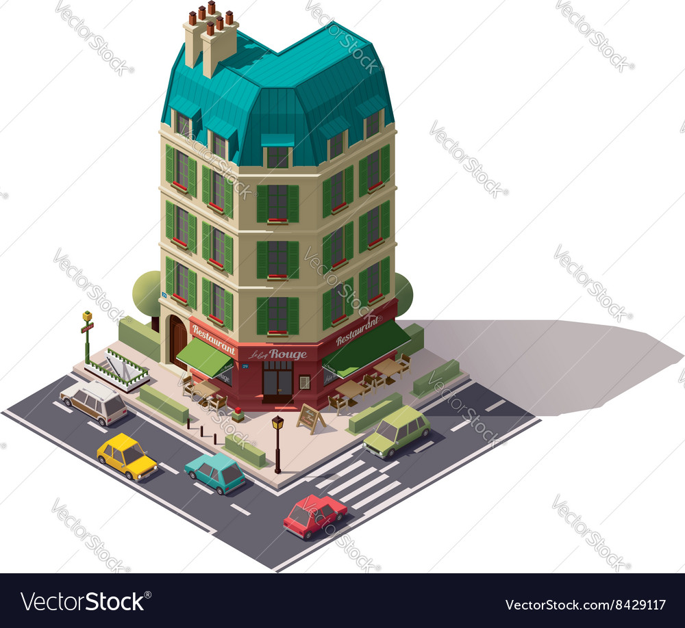 Isometric paris street vector