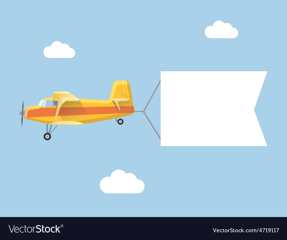 Plane flies with long banners for your text on vector