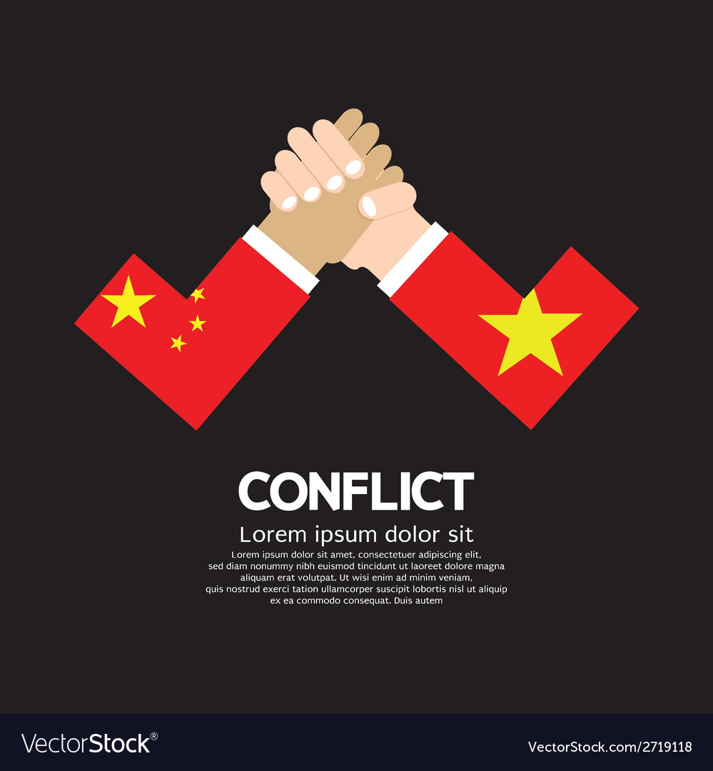 China vs vietnam armwrestle vector