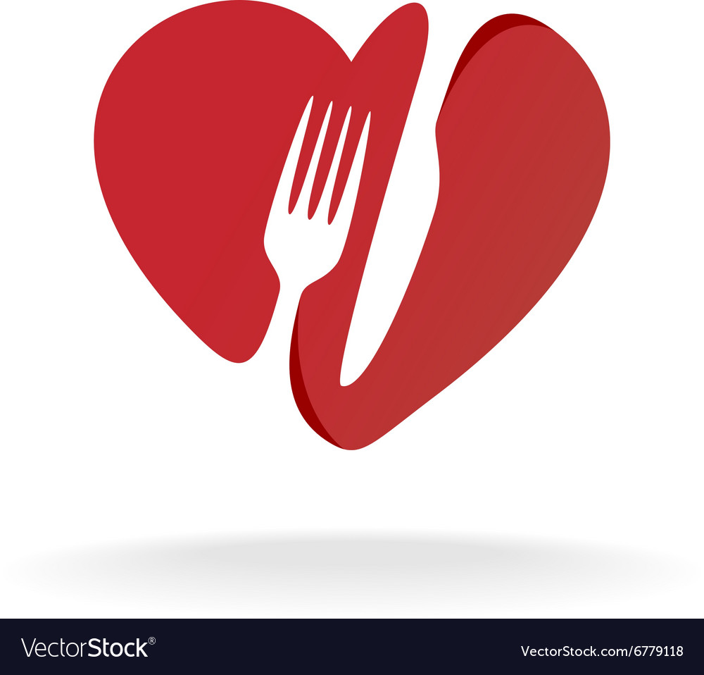 Fork and knife with heart shape lovely food logo vector