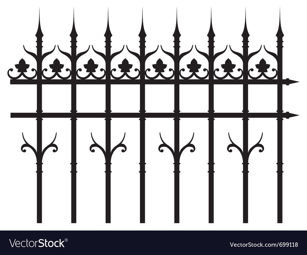 Vintage iron fence vector