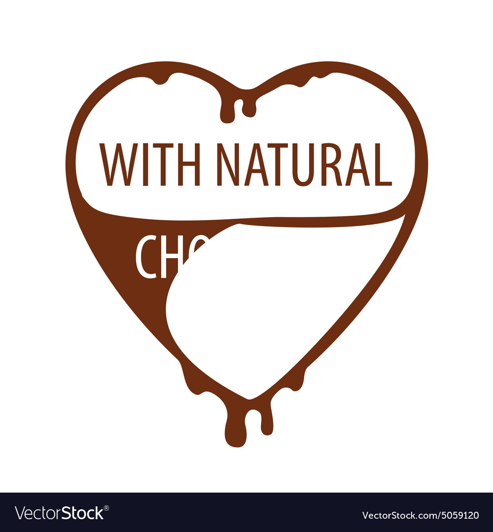 Logo heart with natural chocolate vector