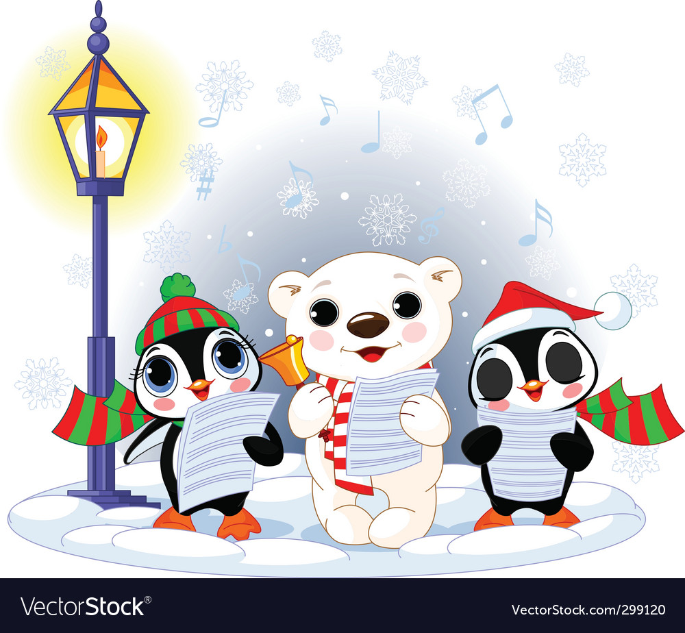 Polar bear and two penguins vector