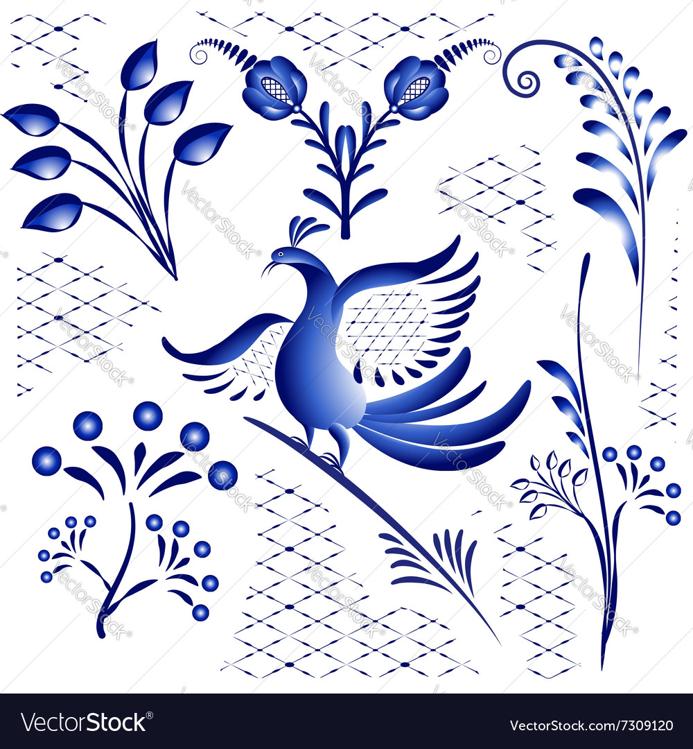 Set blue ethnic elements for design in gzhel style vector