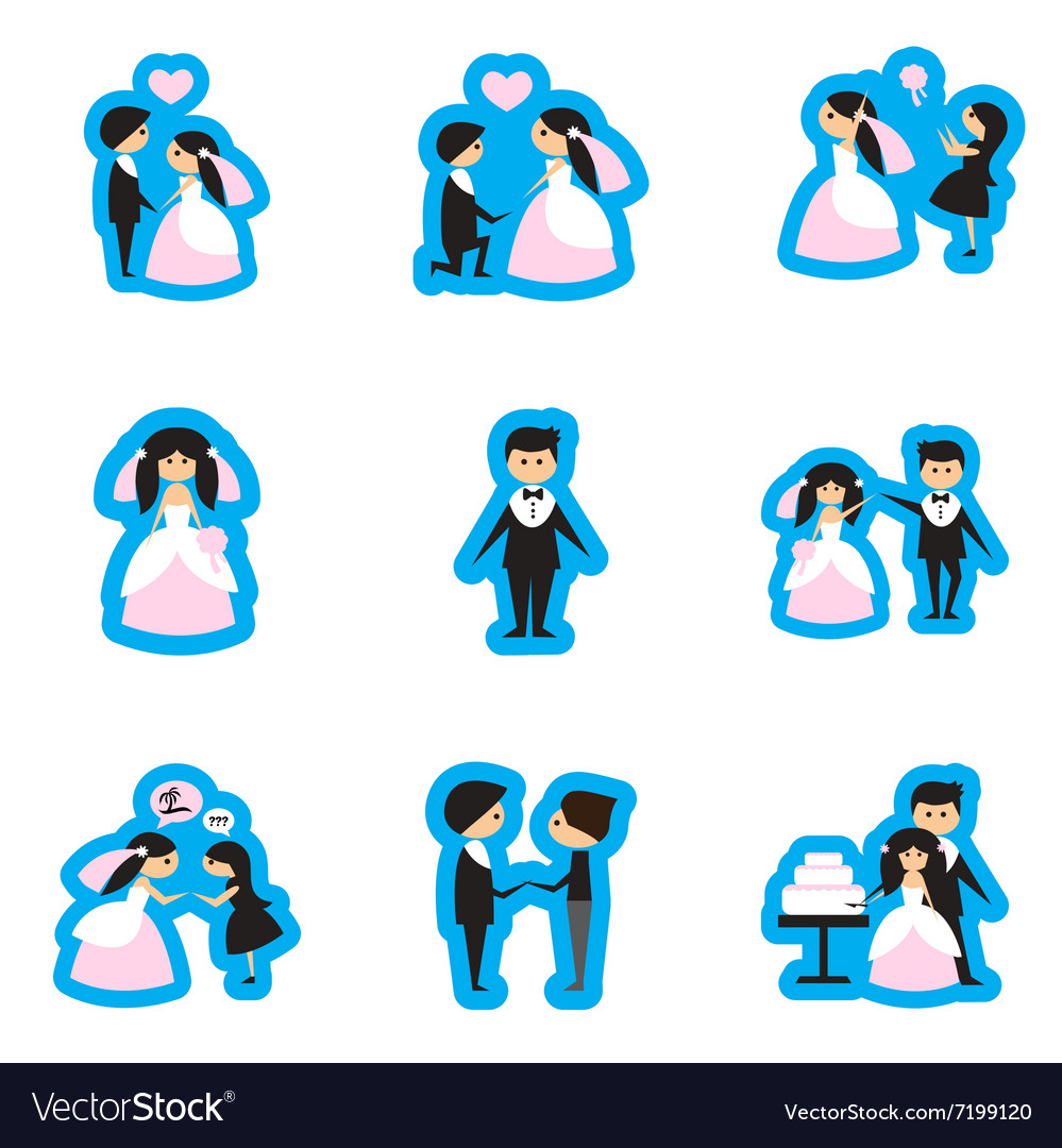 Set of flat web icons on white background bride vector