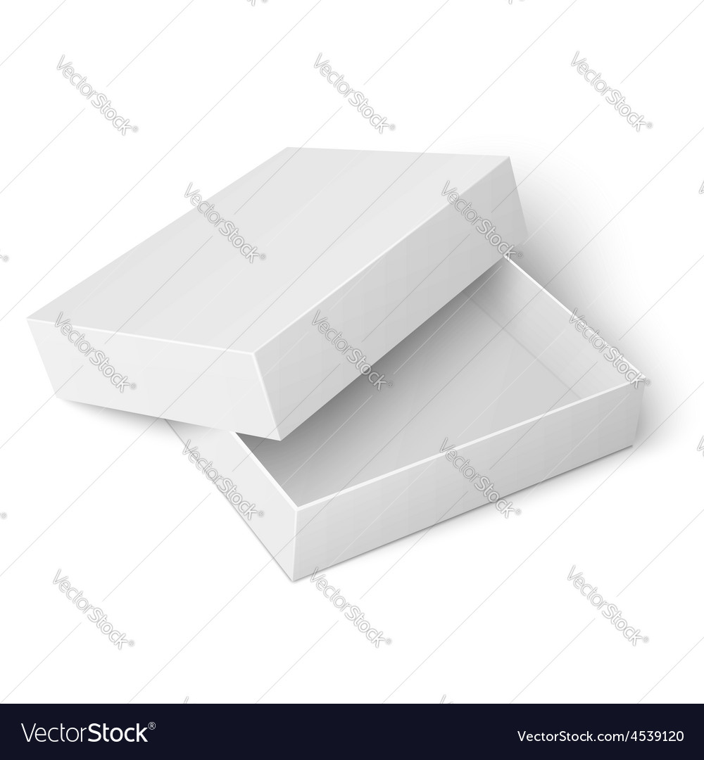 Template of white cardboard box with opened lid vector