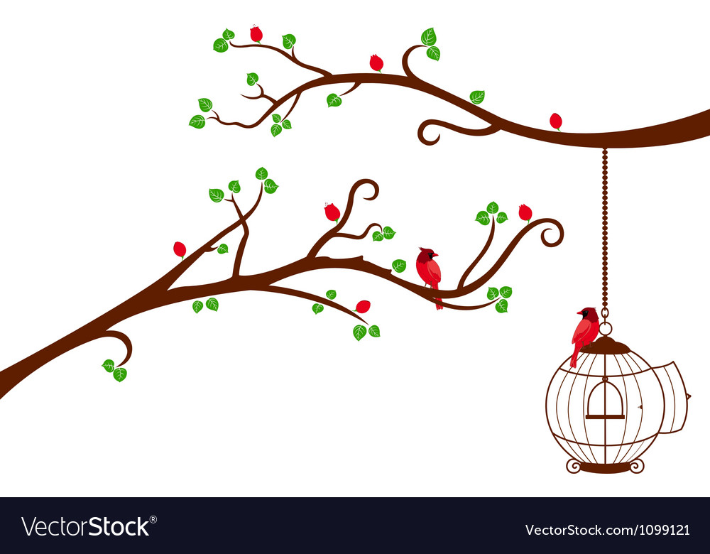 Two tree branches with bird cage and love birds vector