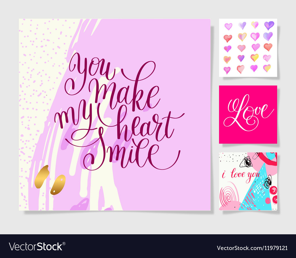 Valentines day design set calligraphy vector