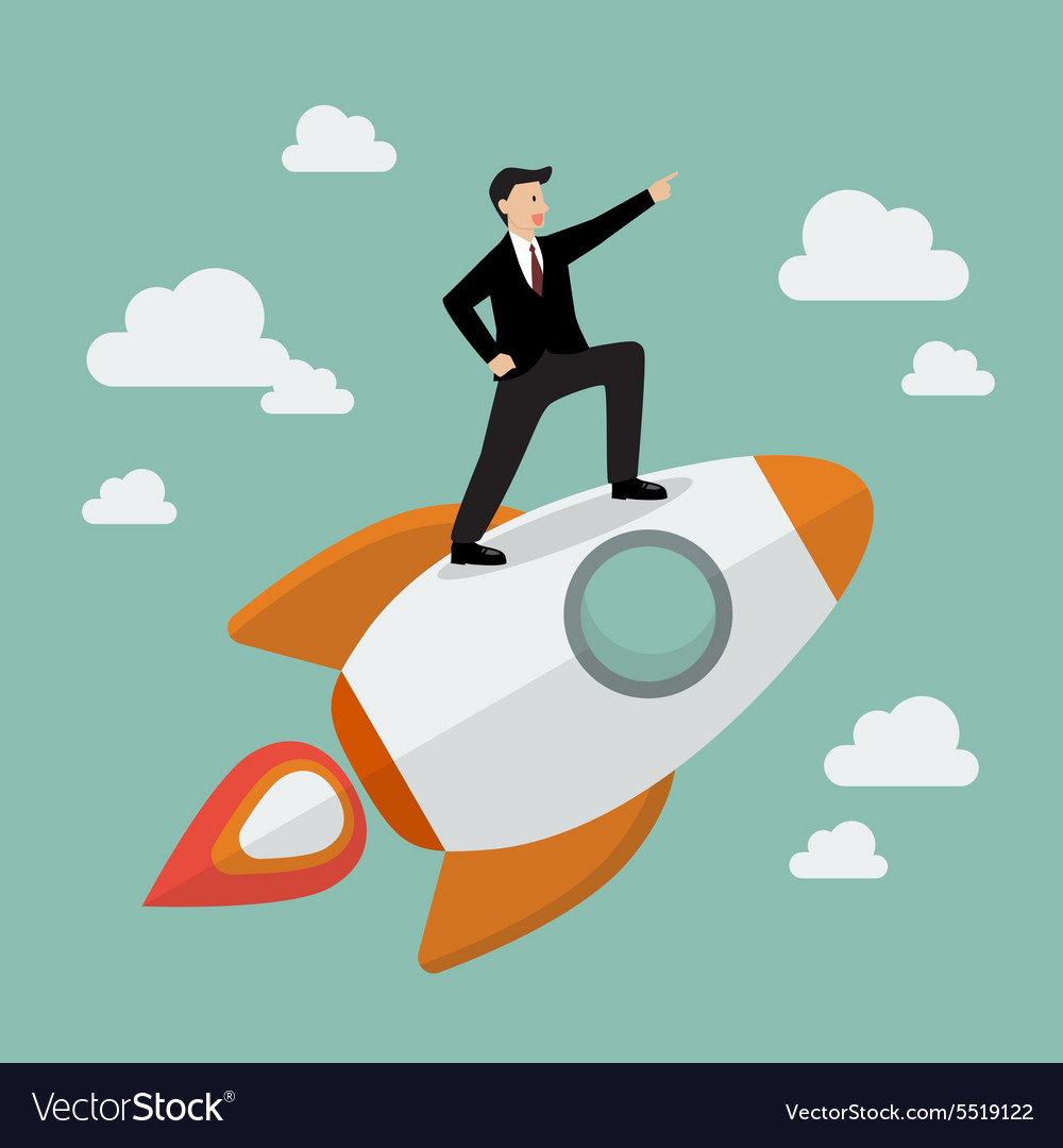 Businessman standing on a rocket vector