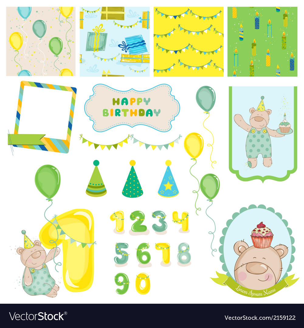 Design elements  birthday baby bear vector