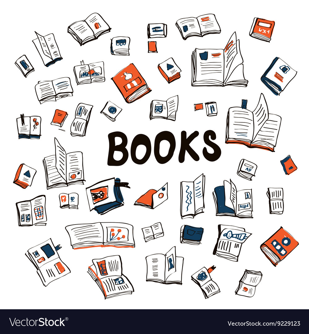 Many books sketchy background  vector