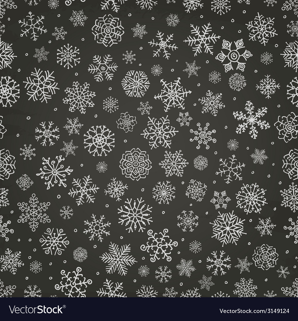 Winter snow flakes doodle seamless background vector