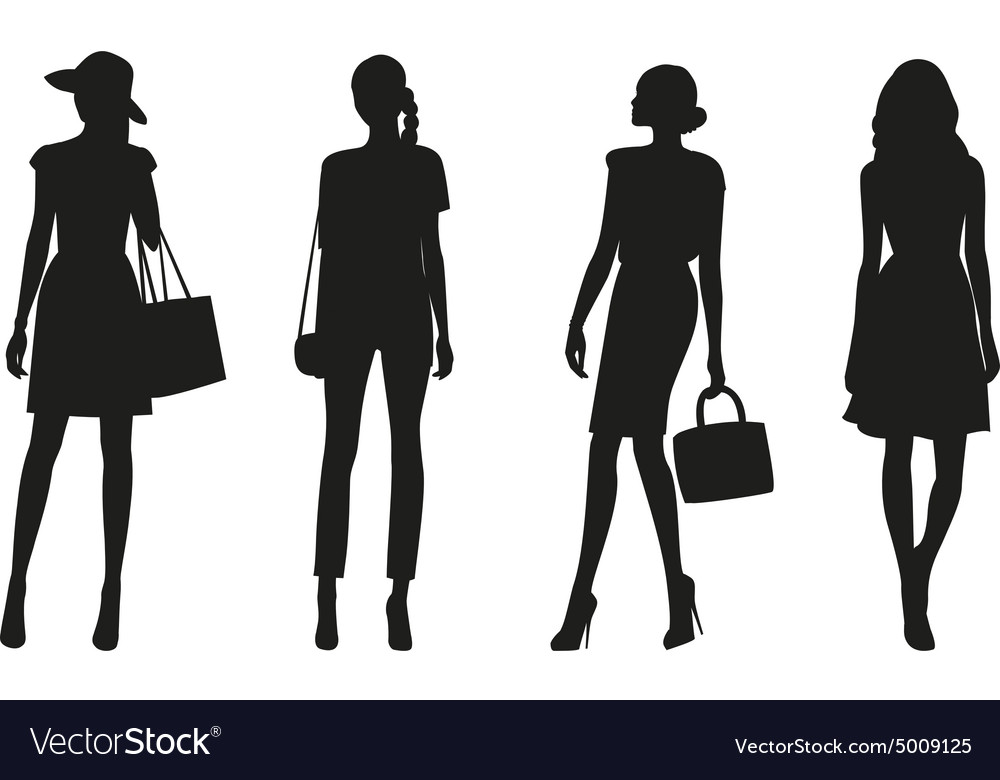Silhouettes of women vector