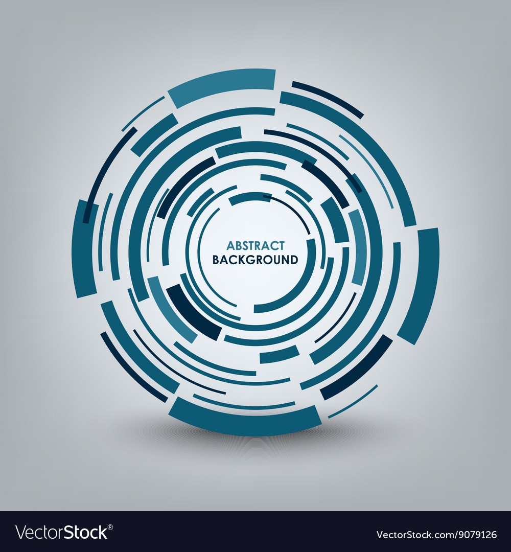 Abstract technical blue round background vector