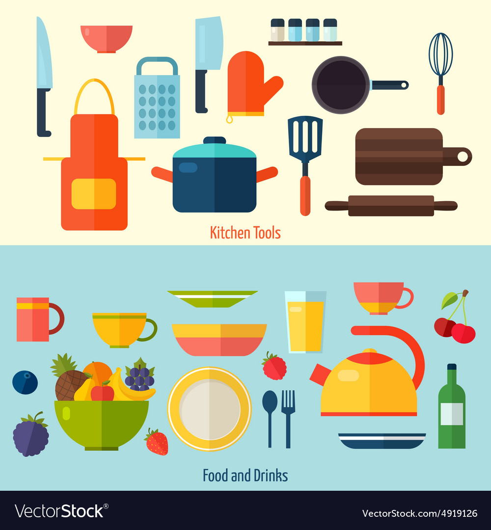Flat kitchen and cooking background c vector