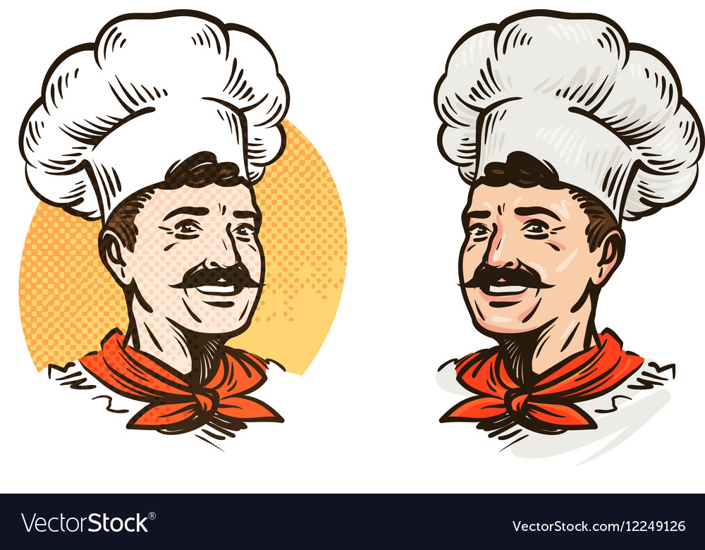 Happy mustached chef in hat vector