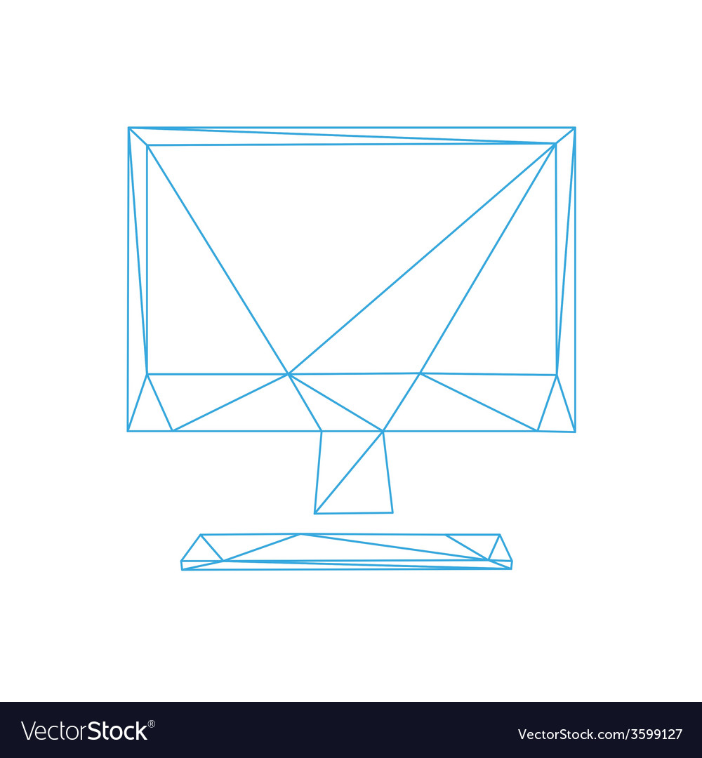 Monitor screen icon abstract vector