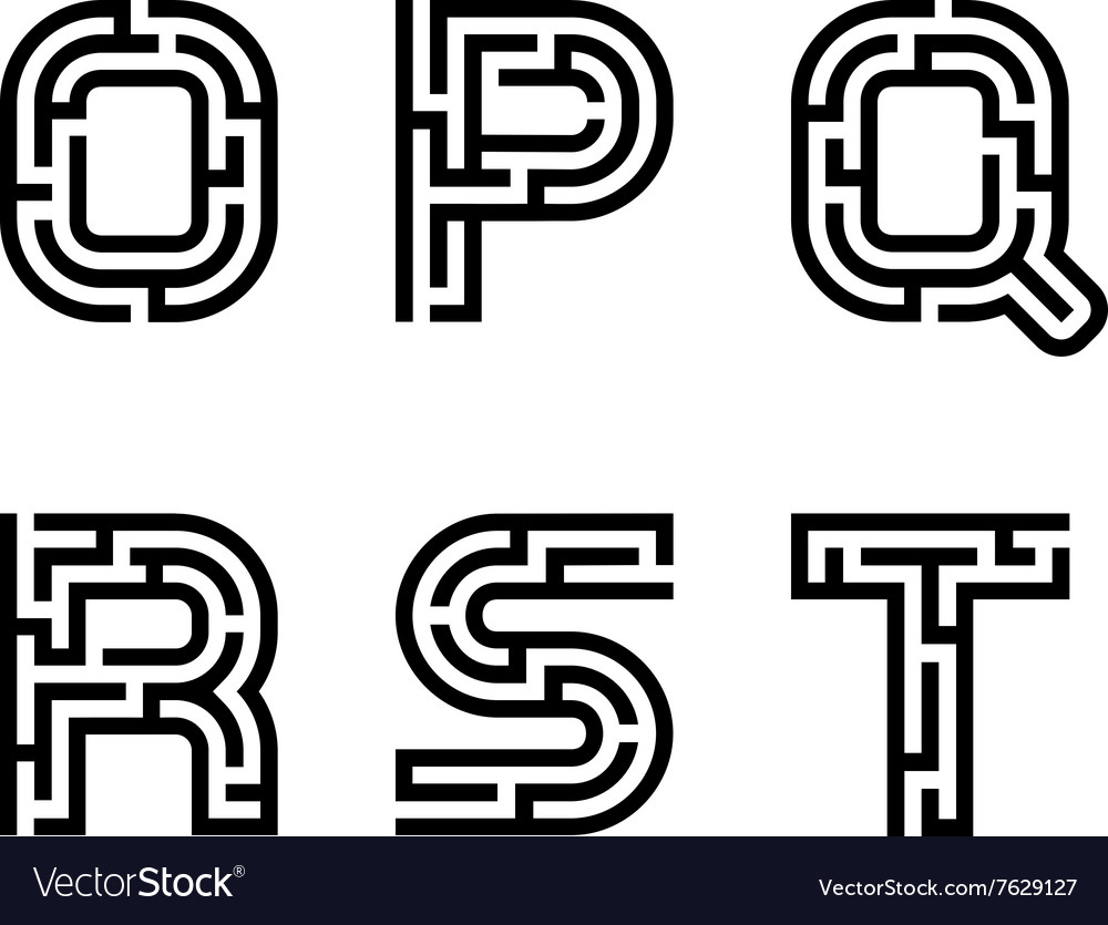 Real maze alphabet font letters  part 3 vector